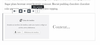 """La opción de """"medios y texto"""" de Wordpress sirve para colocar una imagen, junto a un párrafo de texto."""