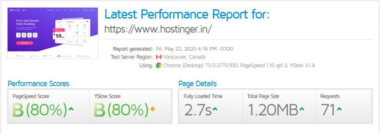 hostinger web hosting speed test