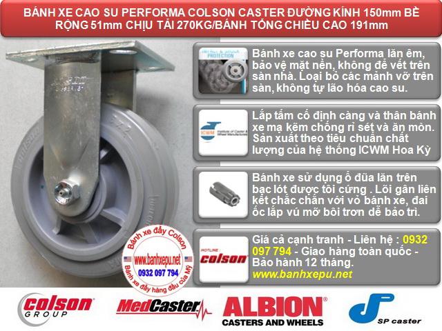 Bánh xe đẩy cao su đặc Colson phi 150 chịu lực 270kg | 4-6108-459 www.banhxedaycolson.com