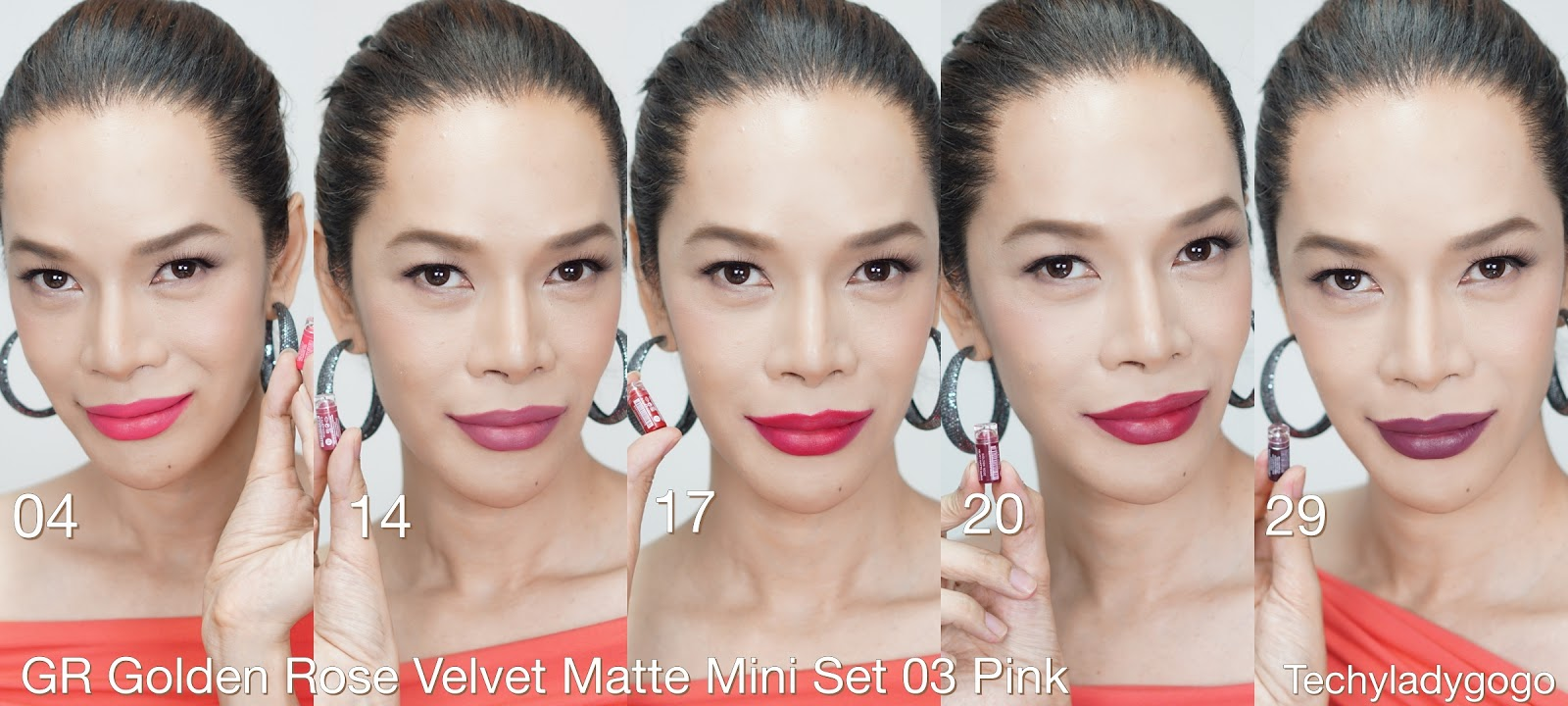 review swatch รีวิว GR Golden Rose Velvet Matte Mini Lipstick ลิปจิ๋วแต่แจ๋ว ยอดฮิตที่ใคร ๆ ต้องมี