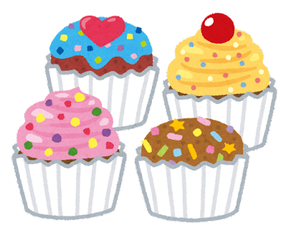 カラフルなカップケーキのイラスト