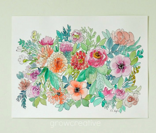 watercolor and ink flower illustration: grow creative blog