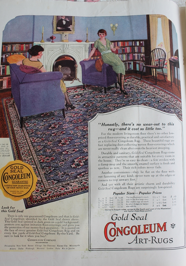 1920's color home decor rug advertisement