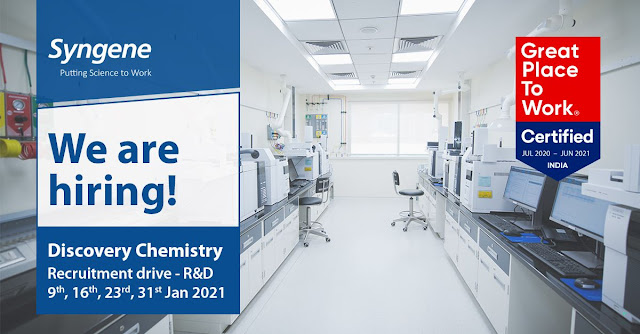 Syngene International Ltd Drive for Multiple Openings in Discovery Chemistry R and D on 9th 6th 23rd and 31st Jan 2021