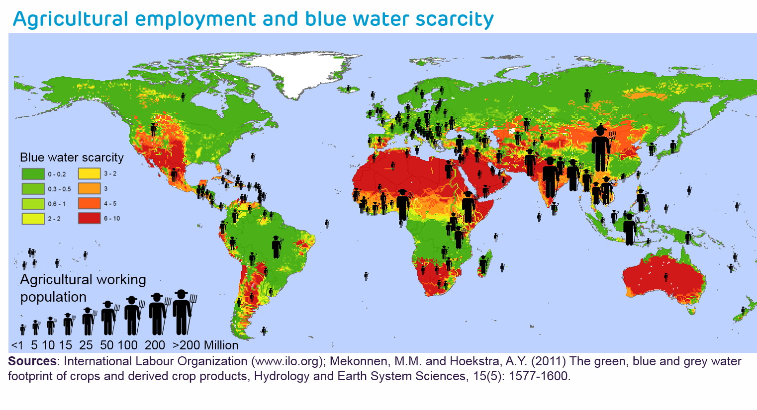 Agricultural employment and blue water scarcity