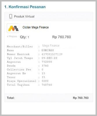 cek tagihan Mega Finance online