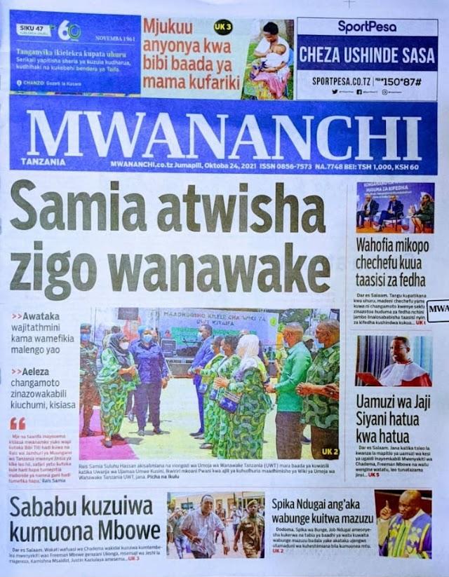 Habari  katika Magazeti ya Leo October 24