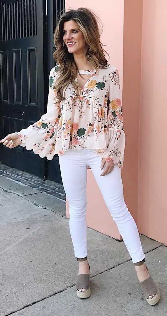 beautiful outfit printed blouse + skinnies