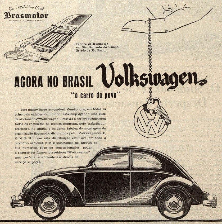 Propaganda antiga que apresentava o Fusca aos brasileiros com sua chegada em 1950