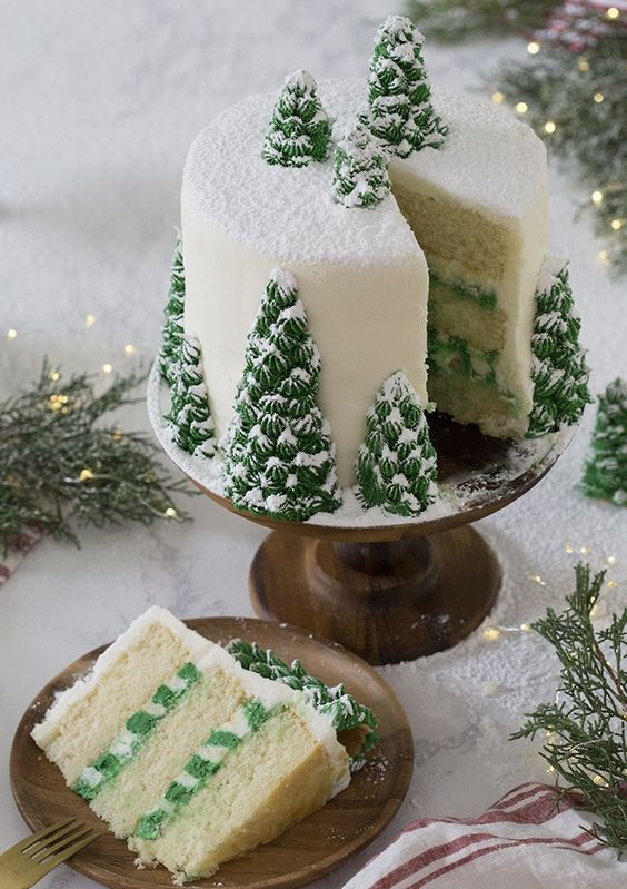 A delicious vanilla Christmas tree cake with creamy, dreamy vanilla buttercream, covered with beautiful Christmas trees that turn this cake into a winter wonderland.