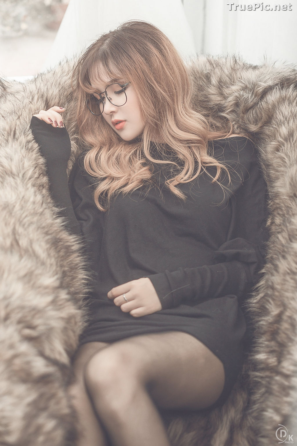 Image Vietnamese Model - Cute Glasses Girl With Black Dress - TruePic.net - Picture-10