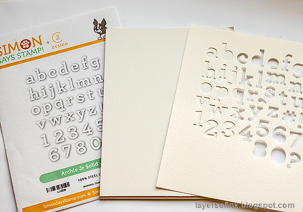 Layers of ink - Glittery Alphabet Notebook Tutorial by Anna-Karin Evaldsson. Die cut Simon Says Stamp Archie Jr. Solid.