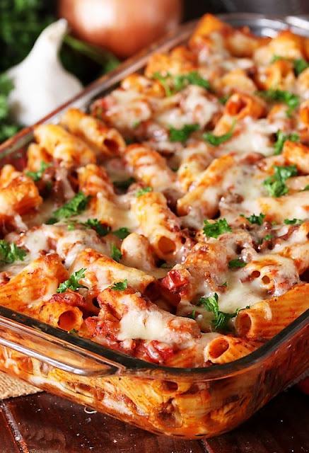 Pan of Easy Baked Mostaccioli Image
