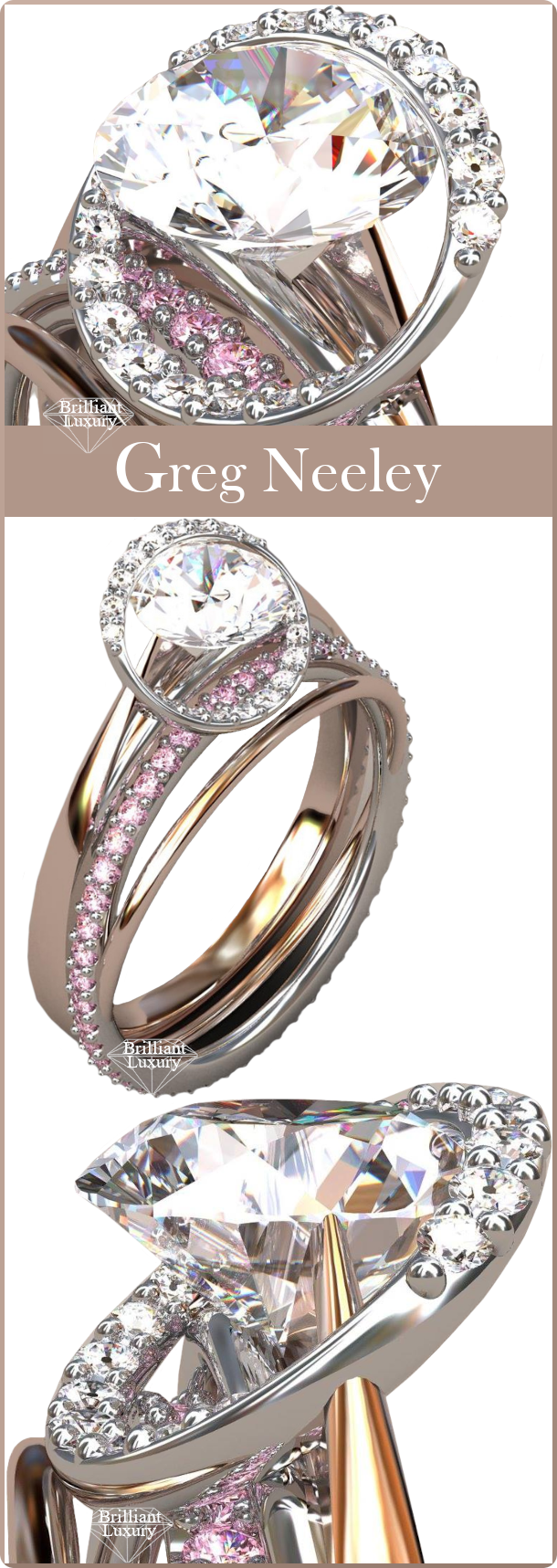 ♦Greg Neeley Award Winning Meteor Rose Gold Diamond Ring made of 18k rose and white gold with white and pink diamonds. Center diamond is 1ct