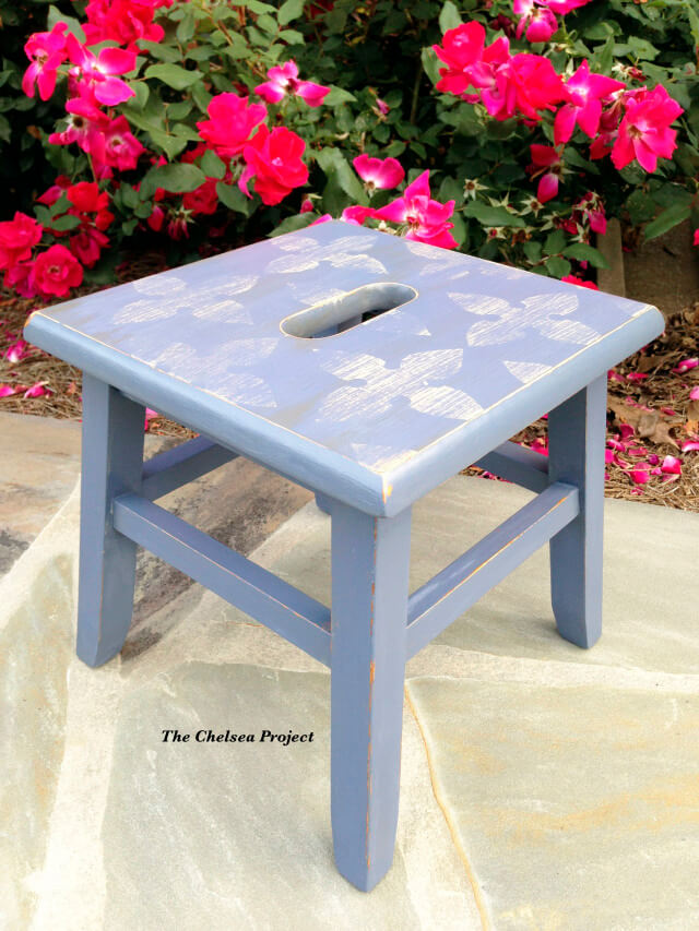 stool painted with Poppies Repurposing paint powder