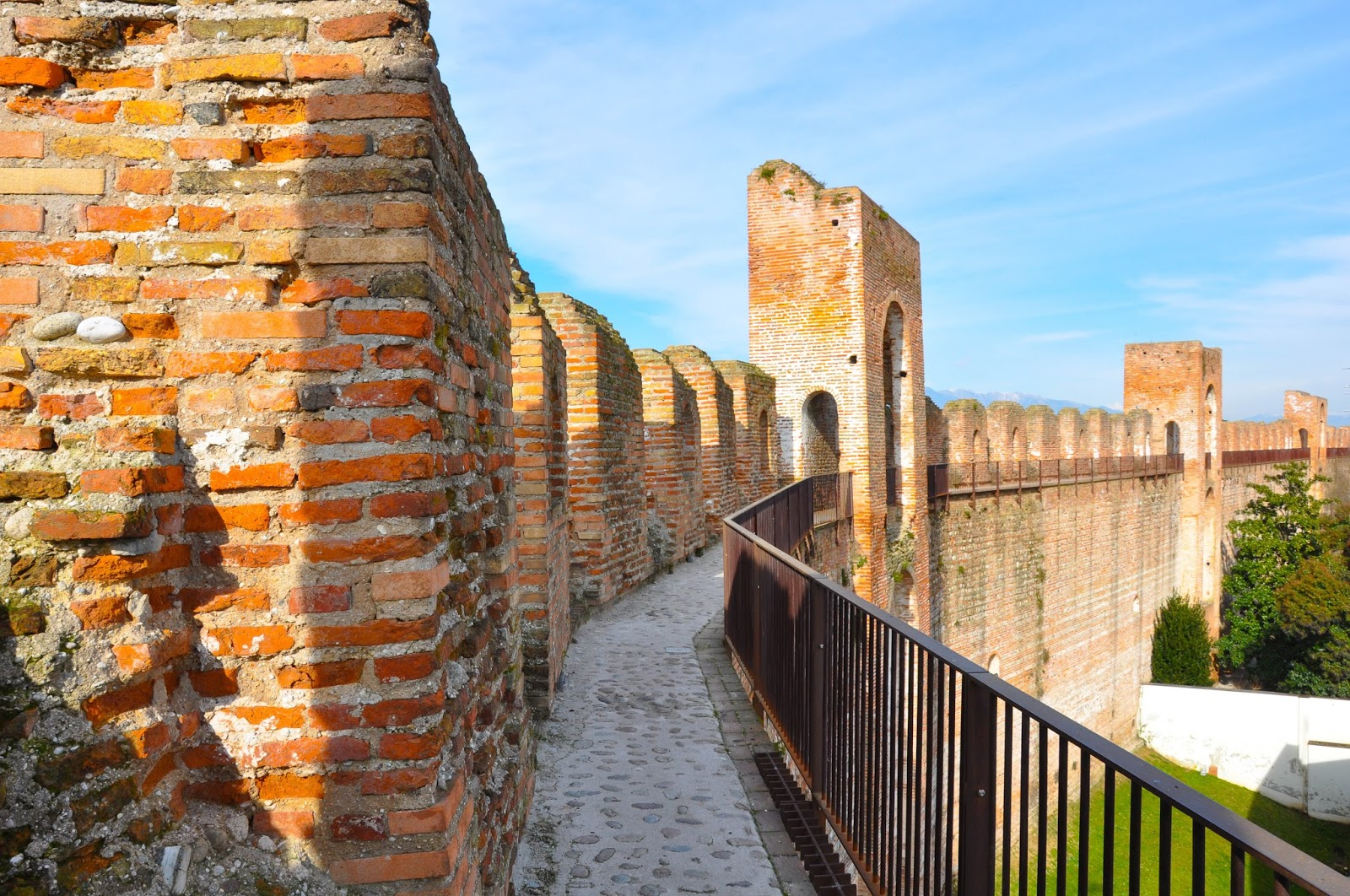 A close up of the medieval wall of the town of Cittadella, Veneto, Italy