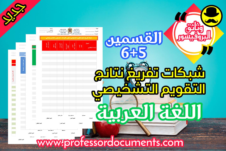 شبكات تفريغ نتائج التقويم التشخيصي للغة العربية - القسمين الخامس و السادس تجدونها حصريا على موقع وثائق البروفيسور