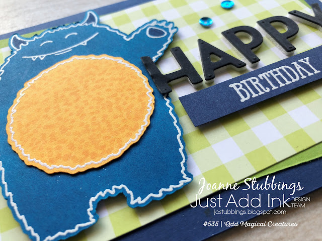 Jo's Stamping Spot - Just Add Ink Challenge #535 using Yummy In My Tummy and Playful Alphabet dies by Stampin' Up!