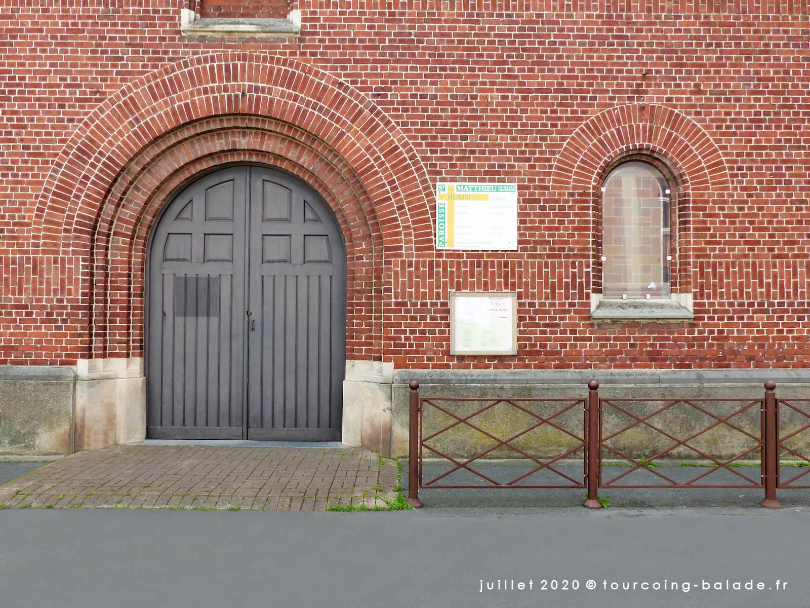 Entrée de l'église Saint Blaise, Tourcoing 2020