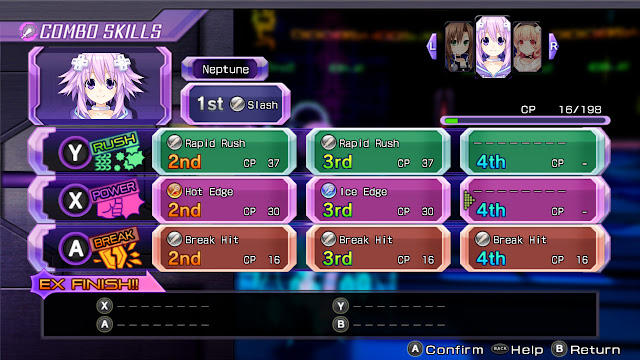 Hyperdimension Neptunia Re;birth1 combo skills screen