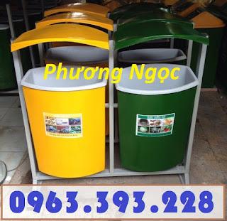 Thùng rác nhựa treo đôi 80L, thùng rác nhựa composite, thùng rác công cộng, thùng rác treo đôi