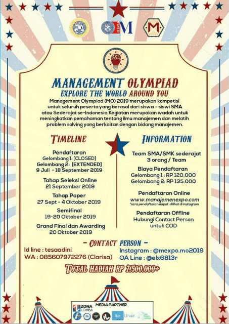 Lomba Management Olympiad (MO) Unair 2019 SMA Sederajat