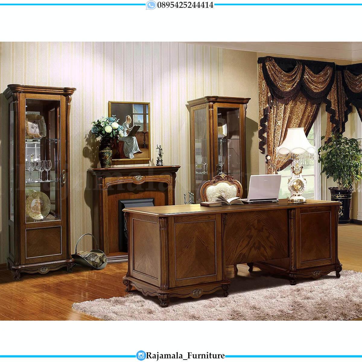 Comfortable Design Meja Kantor Mewah Luxury Classic Jati Perhutani RM-0576