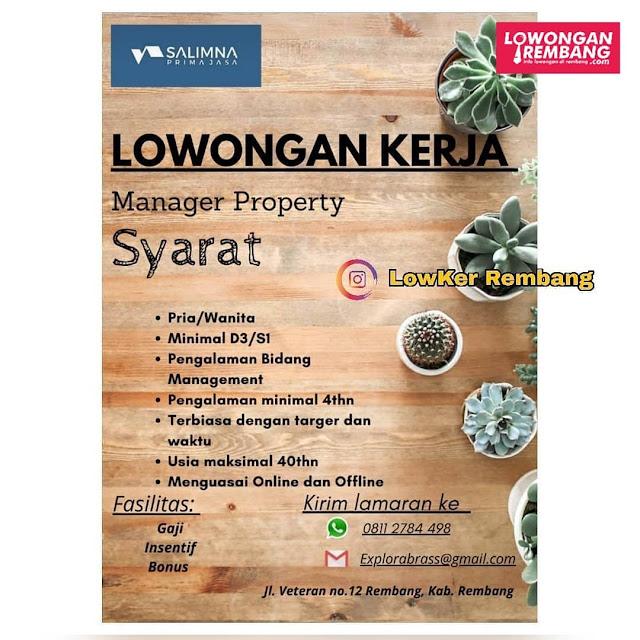 Lowongan Kerja Manager Property Salimna Prima Jasa Rembang