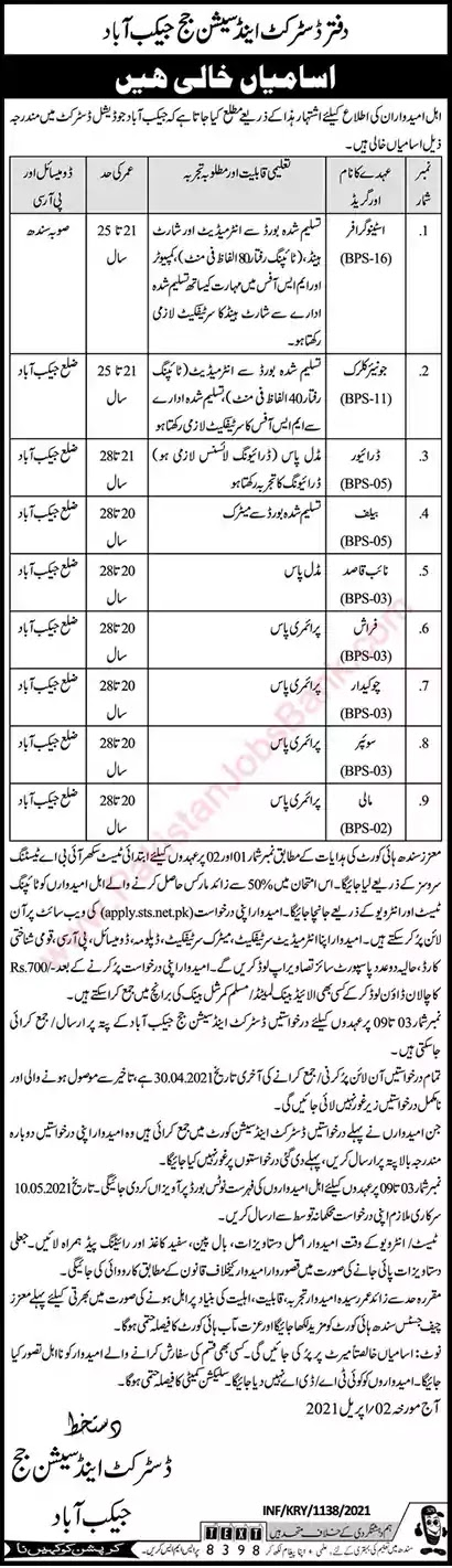 New Jobs in Pakistan District and Session Court Jacobabad Sindh Jobs 2021 | Apply Online