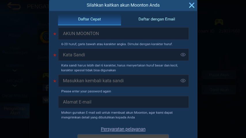 Cara Daftar Akun Moonton Ganti Email Password Unbind 2020 Teknolalat