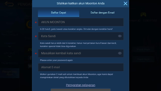 Isi Form Daftar Akun Moonton Mobile Legends