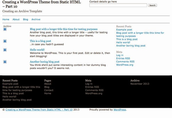 Creating a WordPress Theme from Static HTML: Creating an Archive Template