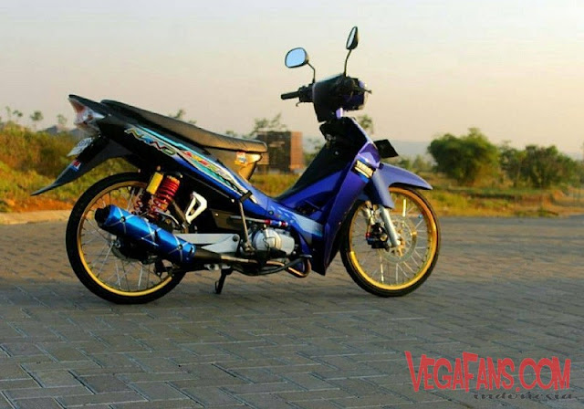 Modifikiasi Vega R New Biru Modif Standar Ban Cacing