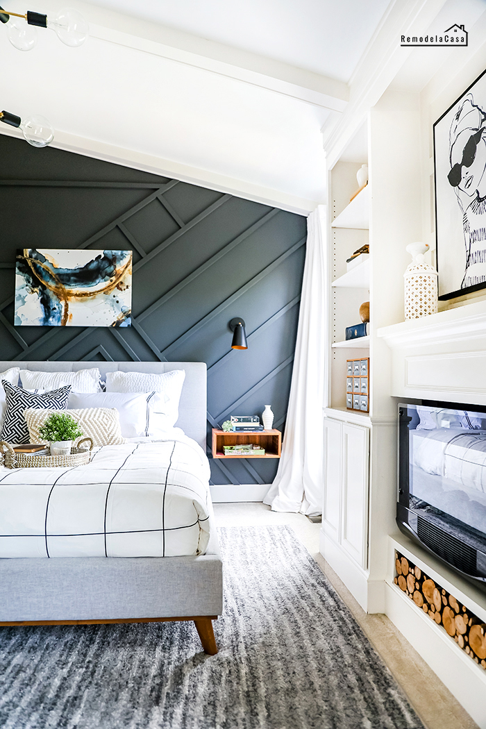 modern bedroom decorated for summer with grid duvet cover