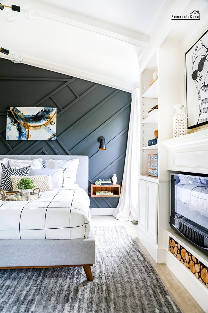 a modern bedroom dressed for summer