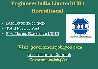 Engineers India Limited (EIL) Recruitment invites online applications for filling up the Executive I/II/III posts. There is a total of 17 vacancies of the posts to be filled. Applicants to the posts posses with BE/ B. Tech/ B.Sc. (Engg.) in Chemical discipline with a minimum of 60% marks.Passout to apply. Such eligible applicants need to apply online. For online applications, applicants need to pay the application fees as given. The closing date for online applications is 20 th February 2020. More details of the Engineers India Limited (EIL) Recruitment applications & online applications link is given below : –