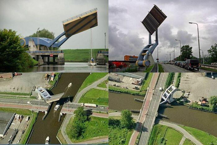The Slauerhoffbrug, a drawbridge over a canal in Leeuwarden, Netherlands