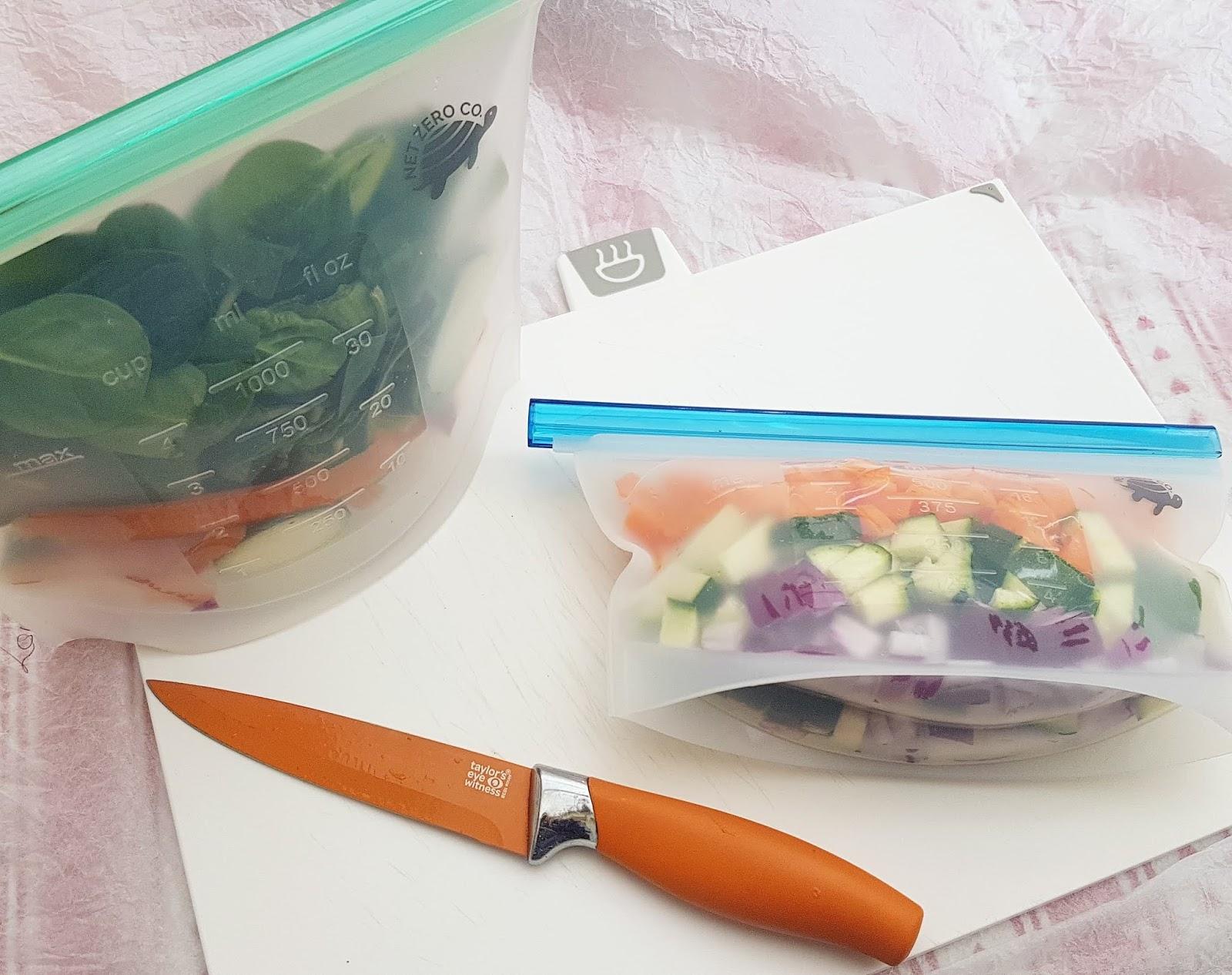 Net Zero Co Review - Zero Waste Reusable Silicone Sealer Bags - minimize food waste