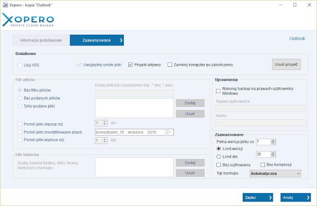 Zaawansowane informacje harmonogramu dla zadania kopii bazy programu Outlook