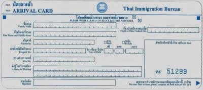Einreisekarte Thailand
