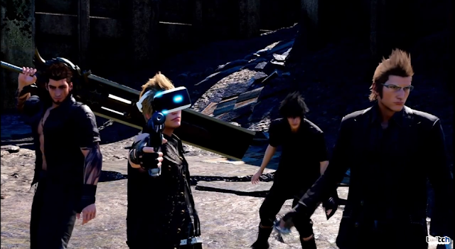 Final Fantasy XV VR Experience PlayStation VR protagonists headset virtual reality parody