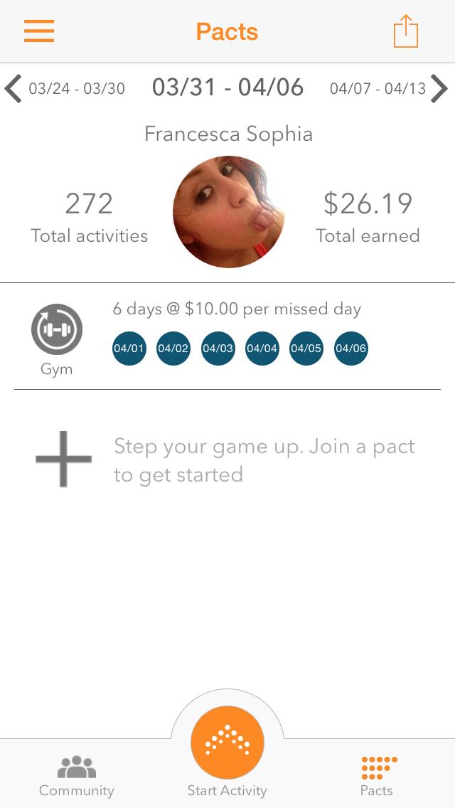 screenshot of pact mobile app on francescasophia.co.uk