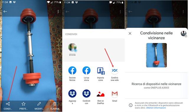 condivisione nelle vicinanze tramite app android