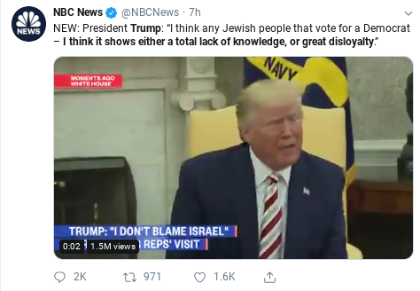 Jewish groups: Trump spreads anti-Semitic trope by accusing Jews of 'disloyalty' Disloyal