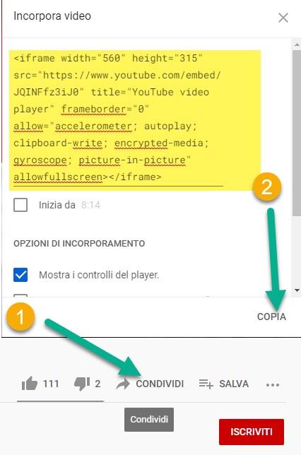 codice del video su youtube