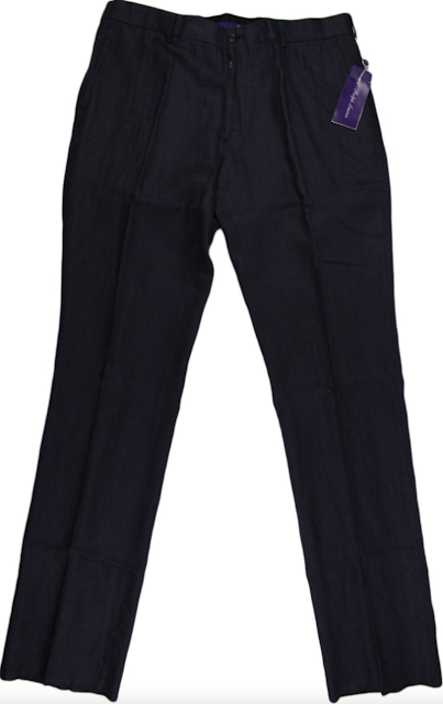 Ralph Lauren Purple Label Navy Linen Pants