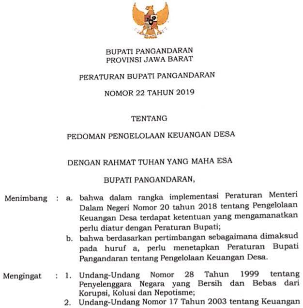 Peraturan Bupati Nomor 22 Tahun 2019 tentang Pedoman Pengelolaan Keuangan Desa