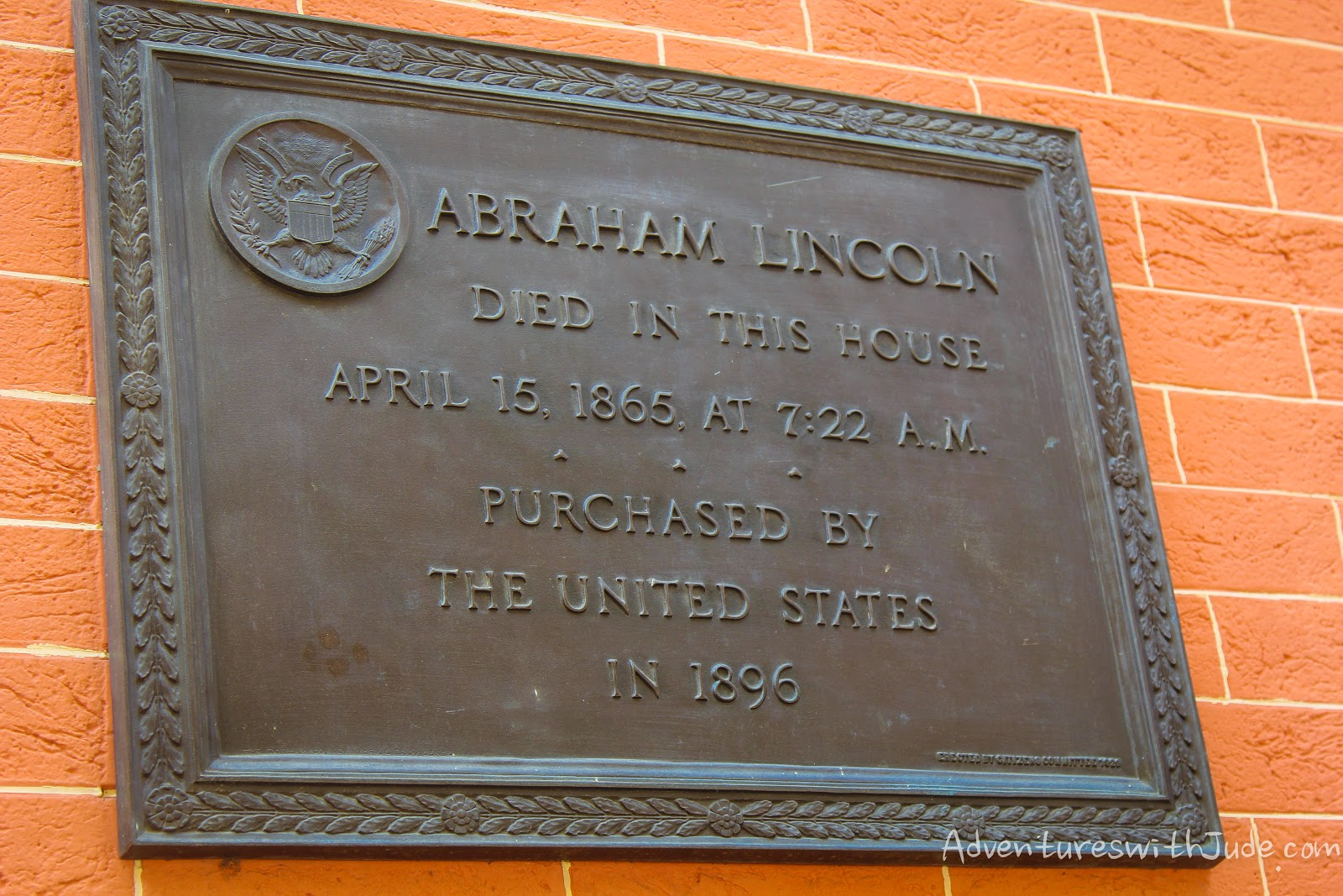Abraham Lincoln death Petersen boarding house plaque