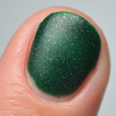 matte green nail polish swatch close up