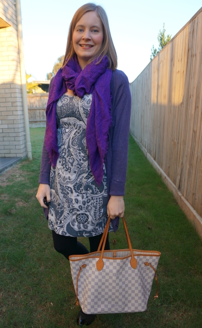 purple cardigan and blanket scarf with blue paisley print sheath dress louis vuitton azur neverfull tote for office | awayfromblue